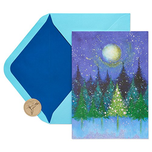 Papyrus Christmas Cards Boxed, Holiday Tree Under Moon (14-Count)