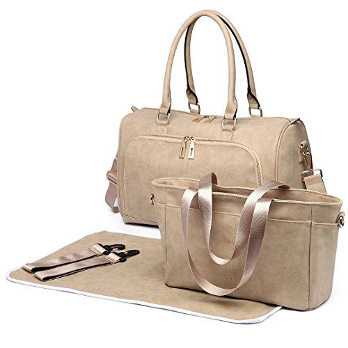 Miss Lulu 3 piezas Bolso para pañales Pañalera Cambiador de pañales bolso de hombro grande bolso de cuero sintético. beige 6638 Beige
