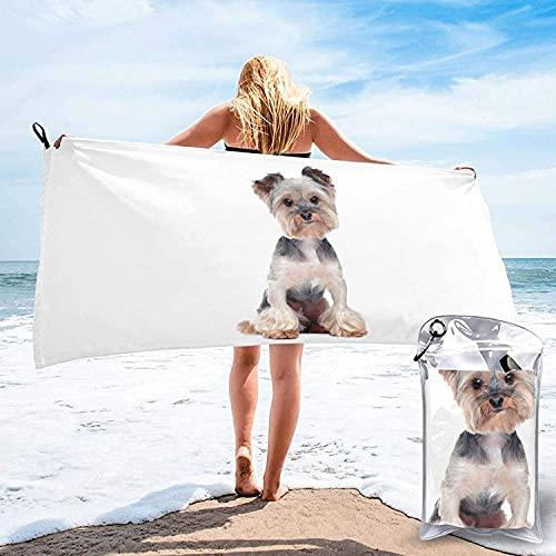 Toalla de baño Yorkshire Terrier, Toalla de Playa, Uso Multiusos para Deportes, Viajes, súper Absorbente, Microfibra de Secado rápido Suave, Ligero, Blanco, 31.5 'x63