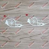 3S MOTORLINE 2X White 4'' Turbo Snail Decal Sticker Car Vinyl JDM Boost Euro Racing Drift Style b
