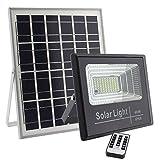 LEDBOX Foco LED Solar para Exterior 40w con Mando a Distancia para regular la intensidad de luz. Proyector LED SOLAR DIGIT de 40W, Blanco frío 6000K Regulable con Sensor Crepuscular DLR.