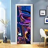 KEXIU 3D Pulpo de acuario PVC fotografía adhesivo vinilo puerta pegatina cocina baño decoración mural 77x200cm