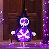 Lulu Home Halloween Collapsible Skull Decoration, 39.4 Inch 48 LED Halloween Lighted Black Skull Ornaments with Clear Lights, Plug-in Halloween Spooky Skull Indoor Outdoor Yard Holiday Decor