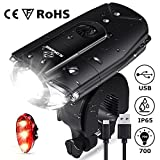 N N.ORANIE Super Bright 700 Lumens Bike Lights Front and Back Rechargeable Bike Light Set IP65 Waterproof Quick Release Headlight and Taillight Free Bicycle Flashlight for Safe Cycling (bikelight set)