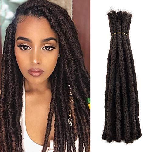 100% Human Hair Dreadlocks Extension For Men/Women 14 inch 20 Locs/pack Handmade Dark Brown Short Hip-hop Locs Reggae Braiding Hair (14 Inch(20 Locs/Pack), Dark Brown)