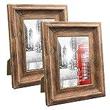 UMI. Essentials - Marcos de Fotos Rústicos de Madera para Sobremesa o Pared, 9 x 13 cm Juego de 2