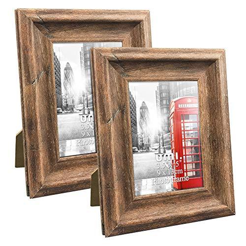 Umi.Essentials 2 Stück Rustikaler Bilderrahmen 9x13 cm mit Holzmaserung in Landhausstil