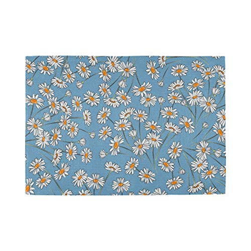 ATONO Botanical Daisy Flower Placemat Kitchen Table Lunching Plate Mats Double-Sided Use [6 PCS 12X18 Inch] Non-Slip Washable Dining Insulation Pads