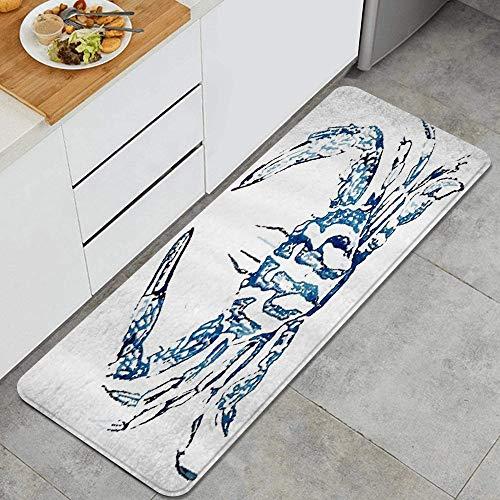 Coastal Nautical Beach Crab Anti Fatigue Kitchen Mat Comfort Floor Mats Non-Slip Oil Stain Resistant Easy to Clean Kitchen Rug
