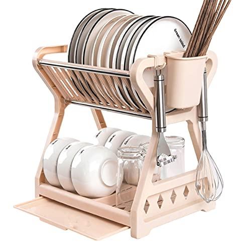Escurridor de platos plegable premium de 2 niveles - Escurridor de platos plegable duradero - Ahorro de espacio para viajes, cocinas pequeñas, tiendas de campaña - Escurridor de platos higiénico y p