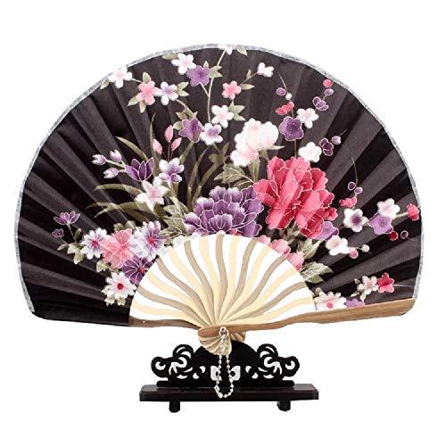 XMorning Ventaglio Elegante a Forma di Conchiglia, Stile Giapponese, Seta e bambù (Nero Geisha)