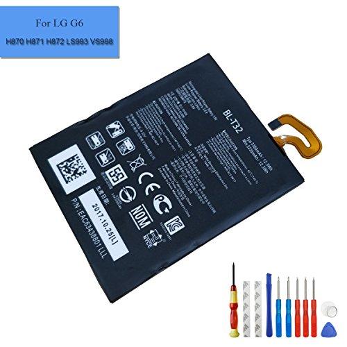 Batería de repuesto para teléfono móvil BL-T32, 3300 mAh, 3,8 V, compatible con LG G6 H870 H871 H872 LS993 VS998, batería de iones de litio interna y herramientas