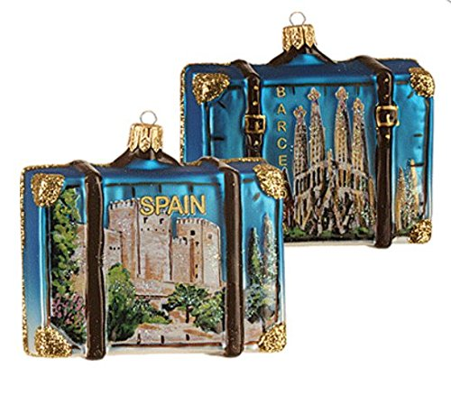 Spain Suitcase Barcelona Spain Sagrada Familia Polish Glass Christmas Ornament Travel Souvenir 070