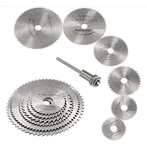 7 discos de hoja de sierra de corte de madera HSS circular, Fortspang HSS hojas de sierra circular mandril herramienta rotativa se adapta a Dremel Taladros Rotary Cutting Blade