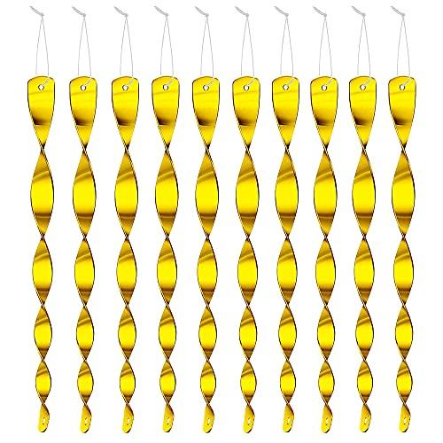 Anyingkai Espiral Reflectante,Espiral de Viento Reflectante,Repelente de Aves Reflectante,Varillas Reflectantes,Varillas Reflectantes,Espiral de Viento (Dorado 10)