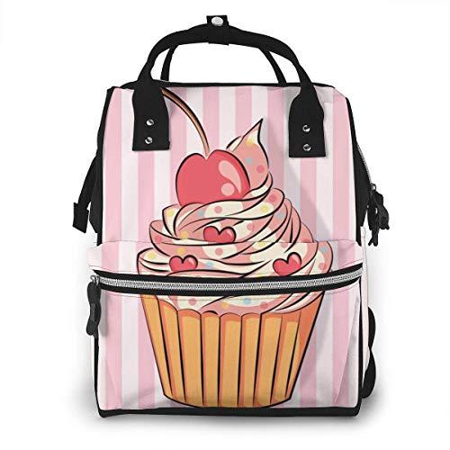 GXGZ Dessert Cupcake Diaper Backpack - Élégant sac à couches multifonctionnel grande capacité sac à dos de voyage étanche pour les soins de bébé