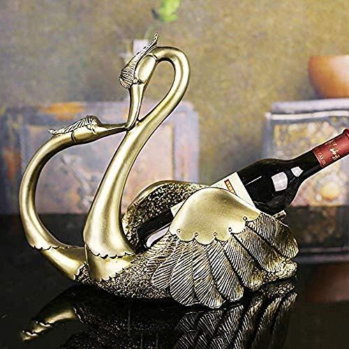 CESULIS Accesorios para el hogar europeo resina beso cisne vino estante regalo vino gabinete sala de estar escritorio soporte de exhibición resina decoraciones arte arte arte arte vino exhibición