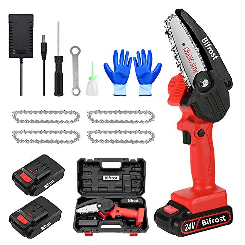 Mini sierra de cadena de mano eléctrica de 4 pulgadas, portátil, con batería, batería de 24 V, con 2 pilas y 4 cadenas para árboles de jardín, cortadora de madera, cortadora roja