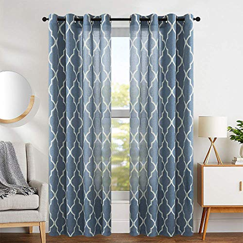 jinchan Curtains Blue Linen Living Room Drapes Light Filtering Moroccan Tile Print Window Treatment for Bedroom Curtain Flax Textured Geometry Lattice Grommet Dining Room 50' W x 84' L 2 Panels
