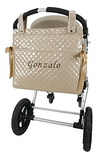 Bolso talega lactancia personalizado con nombre bordado para carro regalo de un babero camel