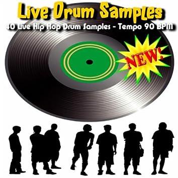 40 Live Hip Hop Drum Samples - Tempo 90 BPM