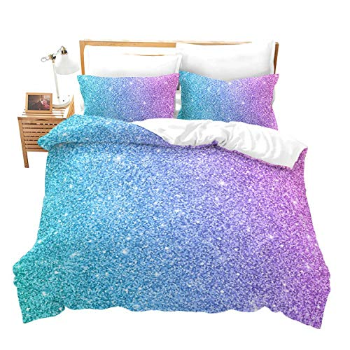 Colorful Glitter Bedding Full Girly Turquoise Teal Blue Pink Pastel Colors Duvet Cover 3 Piece Trendy Bed Spreads Girls Wome Comforter Cover Set with Sparkle Sequin Modern Bling Bedroom Decor Bedding