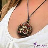 Orgonite Necklace, Eye of Horus, Amulet of protection, EMF, with tourmaline, onyx, pyrite, coral and quartz, yoga, meditation, reiki, Handmade, Arte Orgones