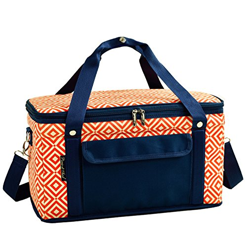 Picnic en Ascot 24-quart plegable plegable con aislamiento Cooler- mantiene 20latas con hielo frío para hasta 24horas–naranja/azul marino
