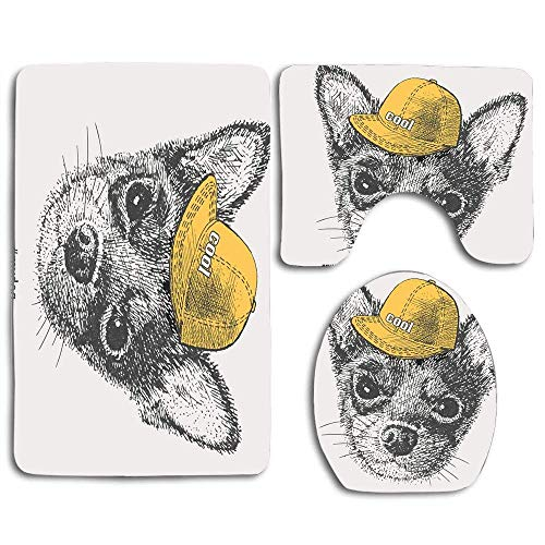 Gris Negro Chihuahua Dibujo Pluma Perro Rapero Animales Fauna silvestre Hermosa Gorra...