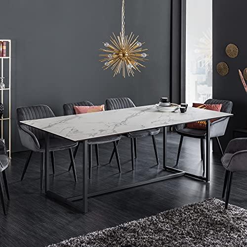 riess-ambiente.de Moderner Esstisch SYMBIOSE 200cm weiß Keramik in Marmor-Optik Konferenztisch Tisch