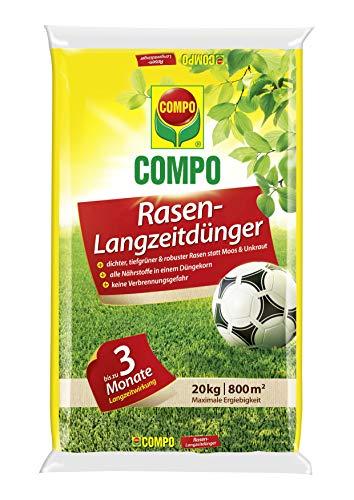 COMPO Rasen-Langzeitdünger, 3 Monate Langzeitwirkung, Feingranulat, 20 kg, 800 m²