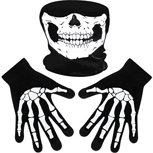 Weiße Skeletthandschuhe und Schädelgesichtsmaske Halb Geist Knochen Cosplay Kostüme für Erwachsene Halloween Tanz Kostüm Party (1 Set, Stil B)
