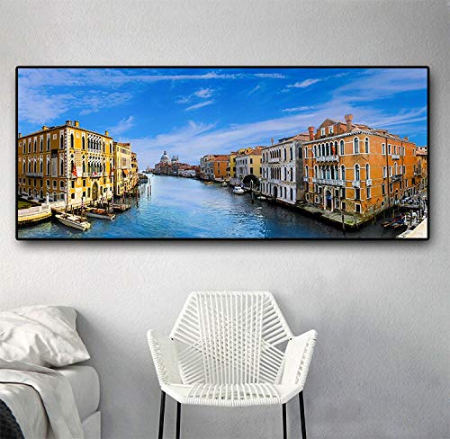 Venice water city boat landscape canvas art poster and print mural pictures, living room home decoration 60x120 Frameless