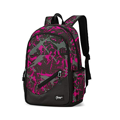 Middle School Backpack for Girls - Durable Multiple Pockets Daypack Backpack with Laptop Compartment for Boys Girls Women Men - Rosered Black 30L