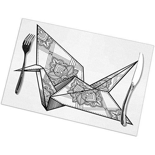 Hui-Shop Manteles Individuales, tapetes de Mesa de Cocina (Juego de 6), diseño de pájaro de grulla Estilo Origami Dibujado a Mano Monocromo Motivo de folclore del Lejano Oriente de Asia