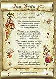 Die Staffelei Geschenk-Urkunde zum Richtfest, Zeichnung mit humorvollem Gedicht-Hauseinweihung A4 Bild-Prsent zum Jubilum, persnlich durch Wunschtext-inlusive!
