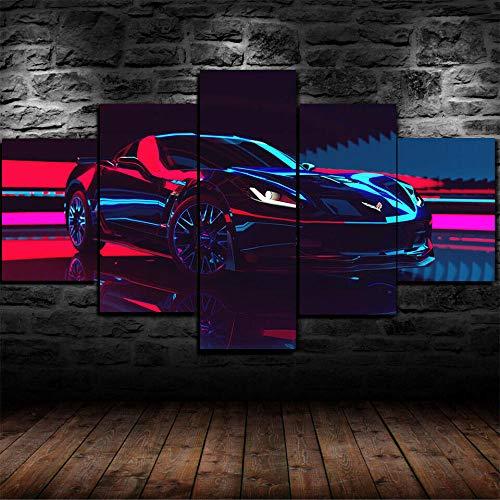 IKDBMUE Cuadro sobre Lienzo - 5 Piezas - Black Classic Corvette Z06 Coche Super Coche - Ancho: 150cm, Altura: 80cm - Gráfica Decoracion de Pared