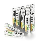 EBL 単4形充電池 充電式ニッケル水素電池 高容量1100mAh 16本入り 約1200回使用可能 ケース4個付き 単四充電池
