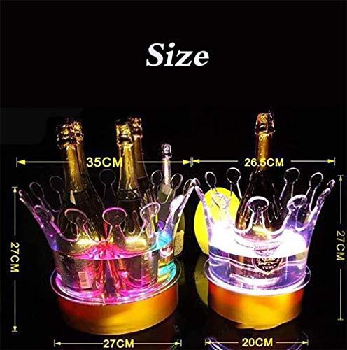 Eiskübel Weinfass Sektkühler Bierfass Ice Bucket Bunte LED Eiskübel, Große Kapazität Weinkühler LED Lebensmittelqualität Eimer Kunststoff Retro Champagner Wein Trinkt Bier Eimer, Lithium-Batterie Aufg