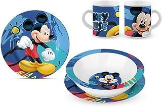 Star Licensing Conjunto de almuerzoin cerámica - Platos e Copa Disney Mickey