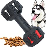 Pet-Fun Dumbbell - Safe Fun Durable Natural Rubber Dog Toy, Tough & Flexi Teething/Dental Cleaning Chew Toy, Long Lasting Treat Dispenser for Medium/Large Dogs (Black-Hex)