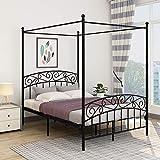 JURMERRY Estructura de cama doble con cabecero y pie de cama con decoración de estilo europeo,...