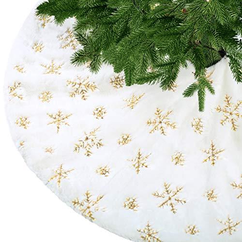 KONVINIT Weihnachtsbaumdecke Weiß Plüsch Christmasbaumdecke Kunstfell Weihnachtsbaumteppich Rund Weihnachtsbaum Rock Weihnachtsdeko mit Pailletten Schneeflocke 90cm/35inch