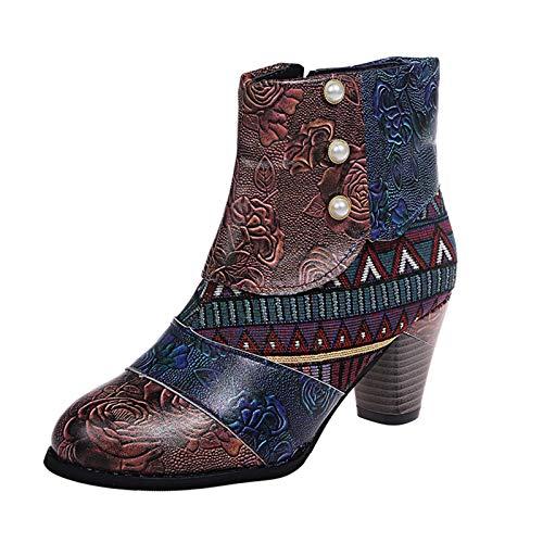 Maximum Chaussures Vintage Femme Pin Up, Rétro Femmes Talons Carrés Fermeture éclair Imprimé Fleur Bottillons Courts Bout Rond Chaussures, Bottes Courtes Femme Talon, Cadeau De Noël
