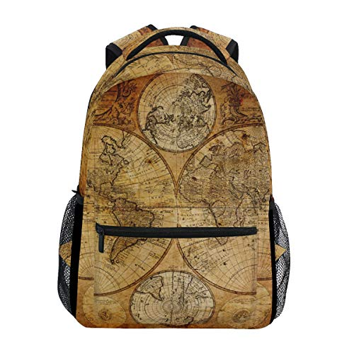 WowPrint Vintage Weltkarte Rucksack Büchertasche Schulrucksäcke Rucksack Wandern Reisen Daypack Casual Bag