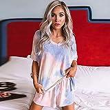 Haoyue Pijamas Camisón De Mujer Dos Piezas Suave Y Cómoda Manga Corta Tops + Pantalones Cortos - Bonita Colores(S-XXL) (Color : C, Size : M)
