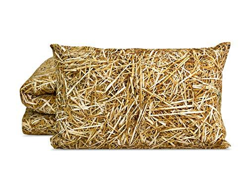 FOONKA HAYKA, 1-TLG. Baumwollsatin Bettwäsche – 135x200 cm (80x80 cm), Satin, Stroh, Beige, Braun, 2