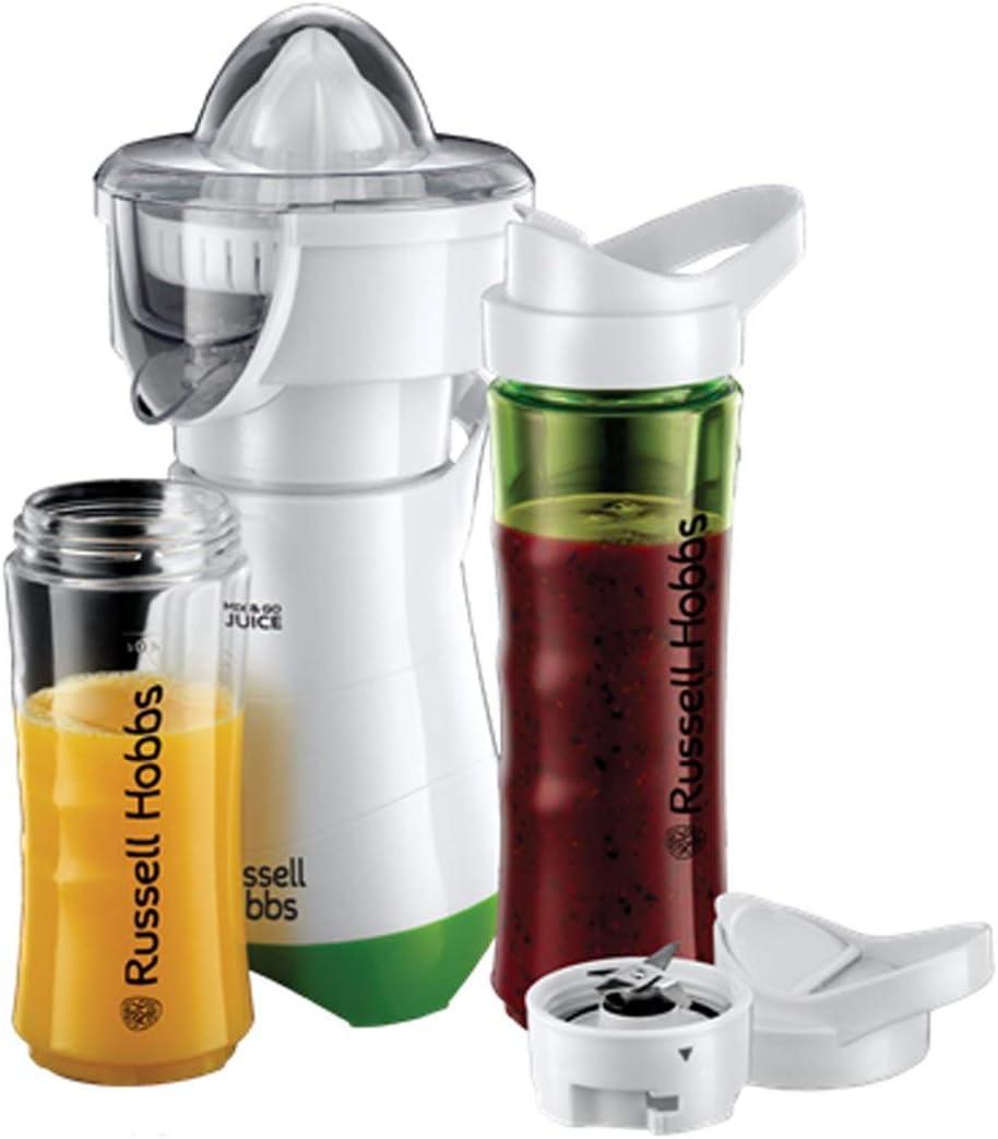 Russell Hobbs Mix & Go - Exprimidor y Batidora de Vaso Individual (300W, Batidora Smoothies, Sin BPA, Blanco y Verde, 1 Vaso de 600 ml, 1 Vaso de 400 ml) - ref. 21352-56