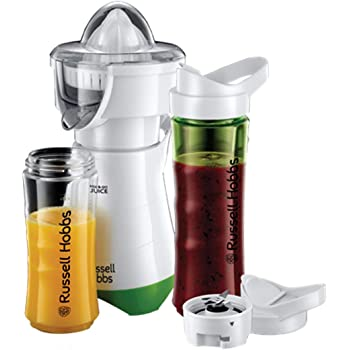 Russell Hobbs Mix & Go - Batidora de Vaso Individual (300 W, Batidora Smoothies, Sin BPA, Blanco y Verde, 2 vasos de 600 ml y 2 tubos refrigeradores) - ref. 21350-56: Amazon.es: Hogar