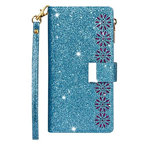 Blllue Funda de cartera compatible con Xiaomi Mi 11, Glitter Zipper Starry Laser PU Funda de cuero con 9 ranuras para tarjetas y cordón para Mi 11 - Azul